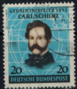 Bund 155 Carl Schurz gestempelt 1952 Pionier Politiker