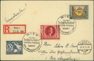 Propaganda Österreich D. Reich R-Brief selt. 2 Länder-MIF Wollin Großwusterwitz