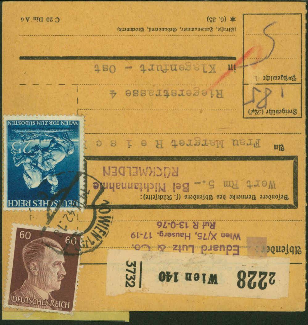 Deutsches Reich Paketkarte verwendet Wien Österreich Klagenfurt 1942 0