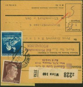 Deutsches Reich Paketkarte verwendet Wien Österreich Klagenfurt 1942