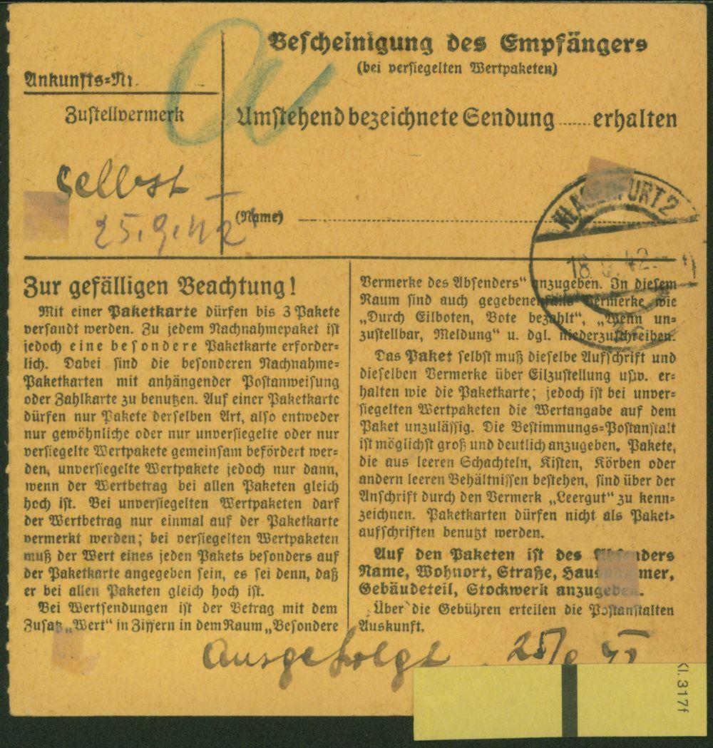 Deutsches Reich Paketkarte verwendet Wien Österreich Klagenfurt 1942 1