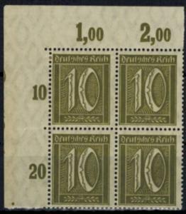 Deutsches Reich 159 Infla Eckrand Bogenecke Viererblock 10 Pfg. postfrisch
