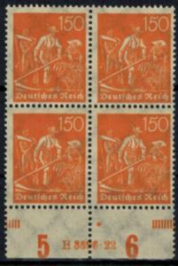 Deutsches Reich 189 Infla HAN Viererblock 150 Pfg., postfrisch