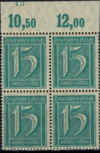 Deutsches Reich Infla Viererblock Oberand Plattennummer