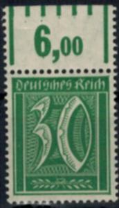 Deutsches Reich 162 Infla Oberrand Walzendruck 30 Pfg., postfrisch
