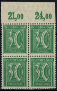 Deutsches Reich 162 Infla Oberrand Viererblock Plattendruck 30 Pfg., postfrisch