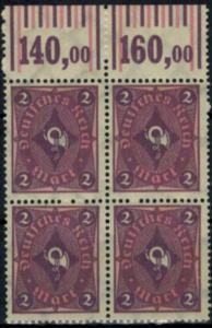Deutsches Reich 191 Infla Oberrand Viererblock Walzendruck 2 Mark, postfrisch