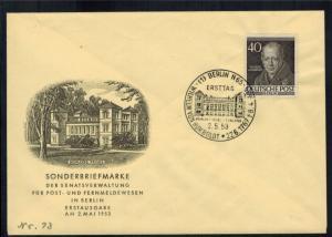 Berlin 100 Brief 40 Pfg. Männer als amtl. FDC vom 2.5.1953 Humboldt