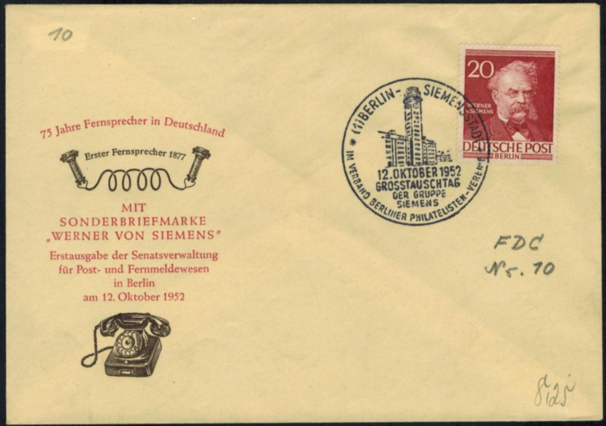 Berlin 20 Pfg. Männer als FDC vom 12.10.1952 Motiv Siemens Erfinder + Philatelie 0