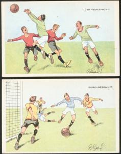 Zwei Ansichtskarten Fußball Künstler sign. Fritz Schönpflug 1921 ungelaufen