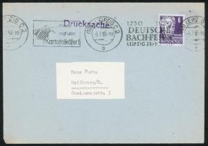 SBZ Musik Komponist seltener Werbe-Stempel Deutsches-Bach-Fest-Leipzig 1950