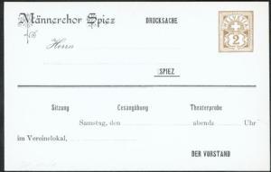 Schweiz Ganzsache 2c Kreuz ü. Wertschild Eindruck Männerchor Spiez Gesang Musik