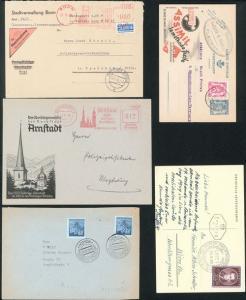 Sammlung Musik, inter. Lot von 15 alten Briefen und Ganzsachen Stempel.
