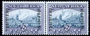Südafrika D 50-51, Dienstmarke 2d (1950) im tadellos postfrischen Paar, selten