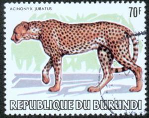 Burundi  70 Fr Tiere Gepard sauber gestempelt