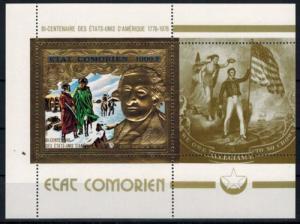 Komoren zwei Blöcke 200 Jahre USA, George Washington u. Jones, Prägedruck Gold
