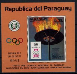 Paraguay Olympia Sport Block Sommerspiele Montreal Olympische Flamme postfrisch