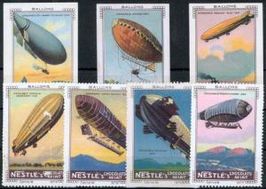 Flugpost Ballon Zeppelin Vignetten Reklamemarken Nestle 7 Stück Serie VI. selten