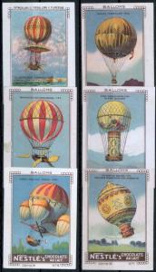 Ballon Zeppelin Vignetten Reklamemarken Nestle 6 St. geschnitten Serie VI selten