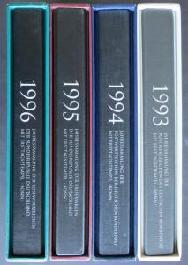 Bund Jahressammlungen Dt. Post 4 Bände kpl mit Ersttagsstempel 1993-96 Kat 560,-