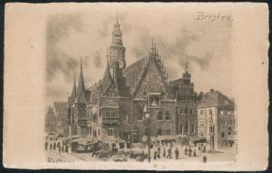 Ansichtskarte Breslau Handabzug Original Radierung vom Rathaus