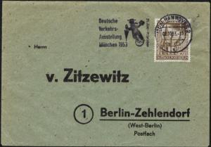 Berlin Brief EF 106 4 Pfg. Gedächtniskirche mit Werbestempel Verkehrsausstellung