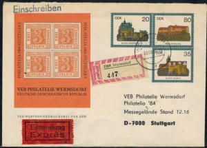 DDR Privatganzsache PU 01 Philatelie Einschreiben Eilsendung nach Stuutgart