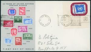 Brief UNO New York 4 Bogenecke mit New York Slogan Maschinenstempel ohne Datum