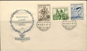 Tschechoslowakei Brief Motiv Sport 1954 illustrierter Sonderumschlag