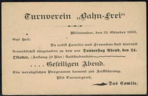 USA Ganzsache Zudruck Sport Turnverein Bahn frei Milwaukee postal stationery