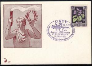 Österreich 868 Sonderkarte Sport Werbestempel Arbeitersport 1952