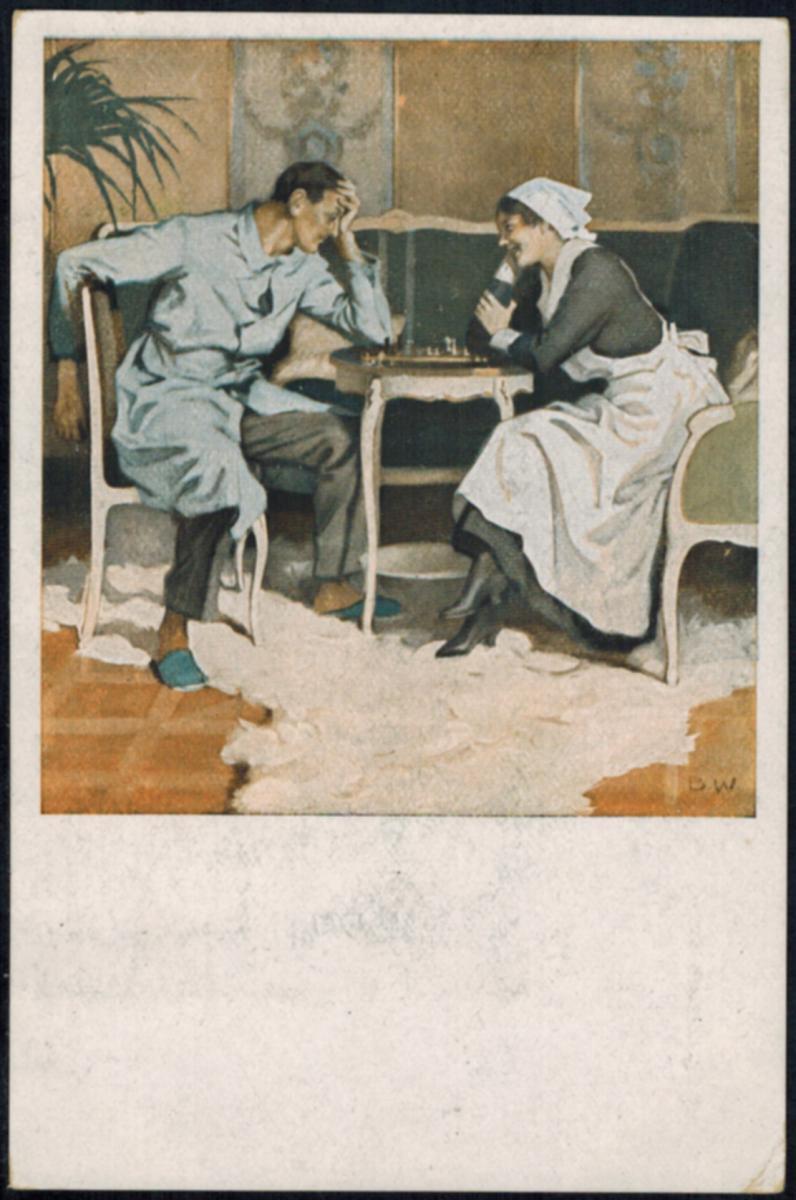 Ansichtskarte Feldpost Schach Frauen Liebe Künstler sign. B. Wennerberg  1917 0