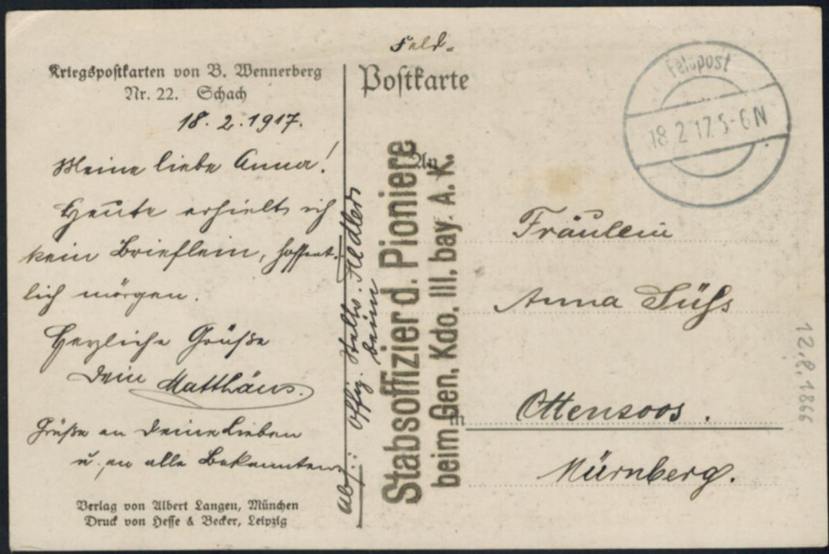 Ansichtskarte Feldpost Schach Frauen Liebe Künstler sign. B. Wennerberg  1917 1