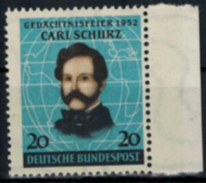Bund 155 Carl Schurz Randstück Pionier Politiker postfrisch