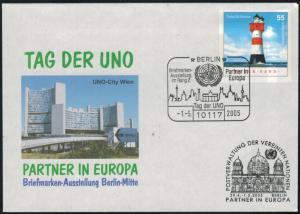 Bund Ganzsache Leuchtturm UNO Briefmarkenausstellung Brandenburger Tor 2005