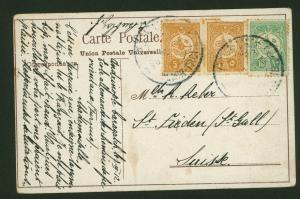 Türkei Brief Ansichtskarte Destination Konstantinopel nach St. Gallen Schweiz