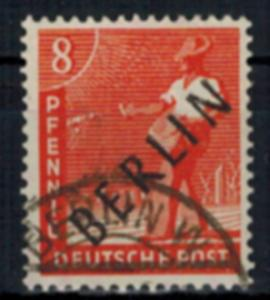 Berlin Schwarzaufdruck Nr. 3 Gemeinschaft m.  Aufdruck 8 Pfg. gestempelt geprüft