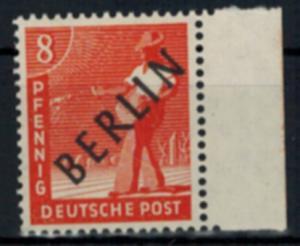 Berlin Schwarzaufdruck Nr. 3 rechtes Randstück Luxus tiefst geprüft Schlegel