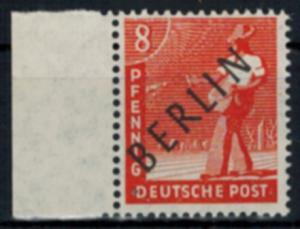 Berlin Schwarzaufdruck Nr. 3 - 8 Pfg. linkes Randstück Luxus postfrisch