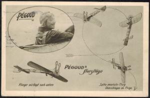 Deutsches Reich Flugpost Ansichtskarte Pegoud Sturzflüge selten frühe Karte 1913