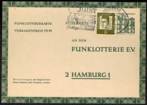 Bund Ganzsache FP 11 mit ZUF Werbestempel Juist nach Hamburg 17.12.1966
