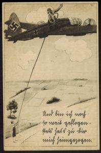 Ansichtskarte Flugzeug Zensur 3. Reich Feldpost Künstler Verlag Franke Hamburg