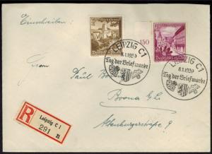 Deutsches Reich R - Brief MIF 675 + 683 mit seltenem Stempel Leipzig nach Borna