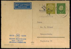 Bund Privat-GSK PP 20/1 Heuss 2 Wertstempel Papier Beckmann Bremen Braunschweig