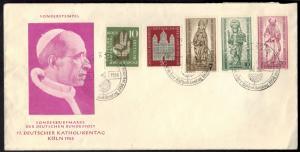 Brief 77. Deutscher Katholikentag Köln 1956 mit Sondermarken Berlin und Bund