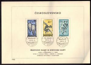 CSSR Tschechoslowakei 1315-1320 Sonderblatt mit Ersttagsstempel 1962 - Nr. 1
