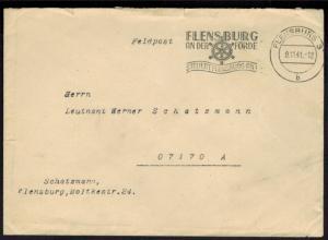 Feldpost II. WK Deutsches Reich mit Stempel Schiffsruder Flensburg 9.11.1941