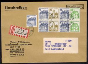 Bund R Brief H-Bl. 27 Heftchenblatt ZD Burgen & Schlösser Düsseldorf Langenfeld