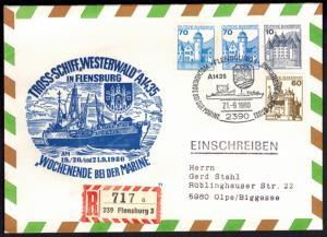 Bund Brief Privatganzsache Marine Flensburg 10+70 B & S + ZUF Schiffspost Olpe