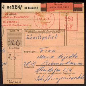 Bund Brief EF 636 Heinemann mit AFS 5,50 selten Schnellpaket Bremen Bremerhaven